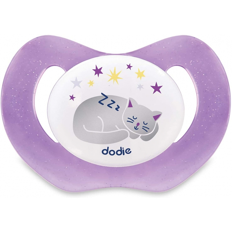 Sucette Physiologique DODIE Silicone +18 mois Nuit Chat P48