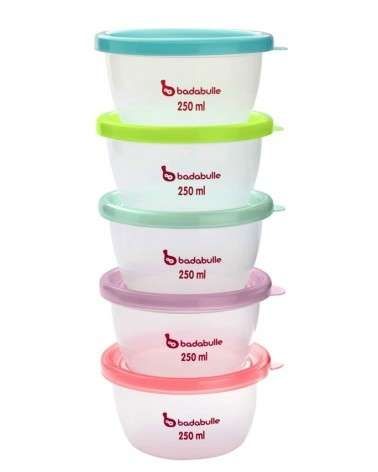 Pots de conservation maxi portions 5 x 250ml Badabulle